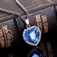 Stainless Steel Charm Blue Heart Pendant Womens Silver Jewelry Necklace Gift