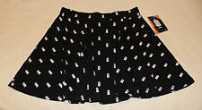Doctor Who BBC Ladies Black White Tardis Printed Skater Skirt Size S New