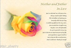 MOTHER & FATHER IN LAW / IN LAWS GIFT - Personalised Poem (Gift)