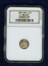 MEXICO ESTADOS UNIDOS 1930 10 CENTAVOS COIN CERTIFIED GEM UNCIRCULATED NGC MS66