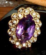 HUGE 18K Gold Amethyst Diamond Ring 1960's Sz 10