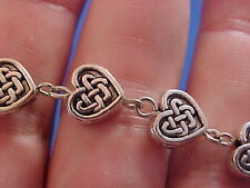 Custom CELTIC KNOT Rosary Bracelet Silver Heart Metal IRISH Trinity Stainless