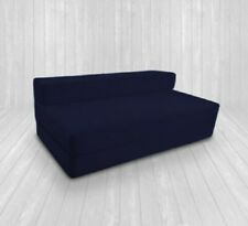 Double Cotton Twill Z Bed Fold Out Chair Bed Sofa Mattress Foam Kids Adults Navy
