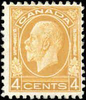 Mint NH Canada 1932 F Scott #198 4c King George V Medallion Stamp