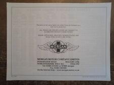 MORGAN RANGE orig 1997 UK Mkt Price List Brochure - Plus Four Plus Eight +8