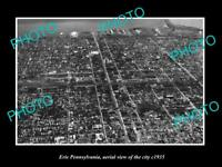 OLD LARGE HISTORIC PHOTO OF ERIE PENNSYLVANIA, AERIAL VIEW OF CITY c1935