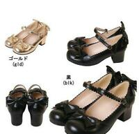 Womens Mid Heel Chunky Mary Jane Lolita Bowknot Buckle Block Pumps Shoes US4-10