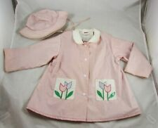 Young Set Childs Lined PVC Raincoat Slicker Jacket Matching Hat 3T Vintage 80s