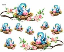 VinTaGe IMaGe XL BaBY BLuE CHiCK BRanCh SHaBbY WaTerSLiDe DeCALs FuRNiTuRe SiZe