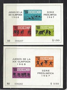 MEXICO - 983a-985a S/S - MNH - 1967 - 19TH OLYMPIC GAMES, MEXICO  CITY