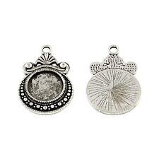 Packet 10 x Antique Silver Tibetan Coin Cabochon Settings 19 x 28mm HA12935