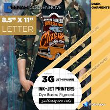 3g Jet Opaque Inkjet Heat Transfer Paper 85x11 25 Sheets Iron On Dark