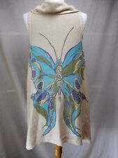 Sparrow Anthropologie Cardigan Sweater Vest Wrap Sz S Butterfly Beige Blue Thin