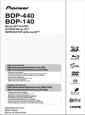 Pioneer BDP-440 Blu-ray Player Owners Manual