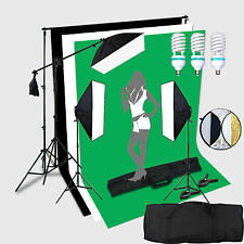 3*150W portraint Photo Studio Eclairage Continu Lampe Set Kit Boom + fond