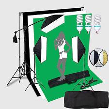 3*150W portraint Studio Fotografico Illuminazione Continua Luce Kit Set Boom + Sfondo