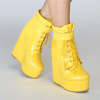 Women High Platform Wedge Heel Ankle Boots Lace up PU Leather Buckle High Top SZ