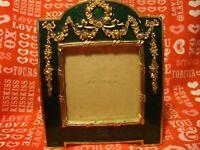 1989 Terragrafics Emerald Enamel Gold Tone Floral Rhinestones Picture Frame  371