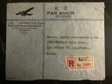 1946 Shanghai China The Union Perfumery Airmail cover  To Los Angeles Ca USA