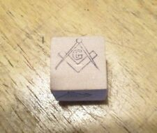 Masonic Rubber Stamp Mason logo small outline shallow 1/2 x 5/8 inch size