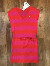Lacoste Begonia Pink Orange Short  Sleeve Knit Sweater Dress 6 (38) *NEW* $145