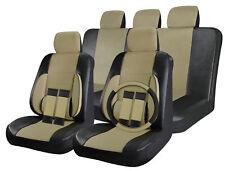 Faux Leather Car Seat Covers Black / Beige Tan 17pc Full Set w/ Steering Wheel