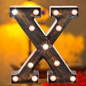 Vintage Golden Black LED Marquee Letter Light Up Alphabet Letter 'X' Sign UK