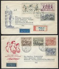 CZECHOSLOVAKIA 1950s 60s OLYMPICS ISSUES 4 DIFFERENT FDCs ALL TO US