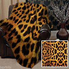 REAL LEOPARD PRINT DESIGN FLEECE DESIGN SOFT FLEECE BLANKET COVER THROW ANIMAL