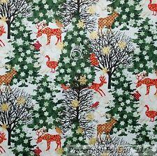 BonEful Fabric Cotton Quilt White Green Red Xmas Tree Snow*flake Deer Dot SCRAP