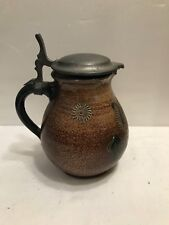 ANTIQUE STEIN WITH PEWTER TOP - SIGNED ON BOTTOM