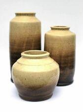 Ceramic Planters Set of 3 Beige to Dark Brown Vases Flower Pots