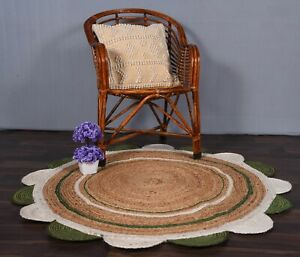 begie & white-green color scalloped jute round rug busines gift rustic decor rug