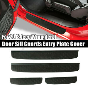 4x Door Sill Guard Entry Plate Cover Black Step Guard Protector f