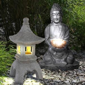 2 x LED Außen Solar Leuchten Asia Figur Buddha Pagode Stein Design Garten Lampen