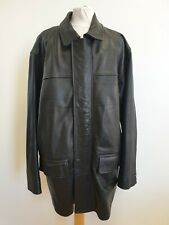 EE806 MENS CIRO CITTERIO BLACK COLLARED LEATHER JACKET COAT UK XL EU 54
