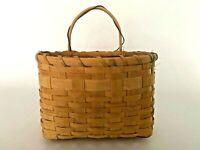 Vintage Wood Splint Hanging Basket - Martha Stewart Owned Primitive Folk Art