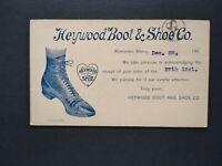 Massachusetts: Worcester 1900 (circa) Heywood Boot Advertising Postal Card