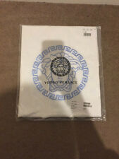 YOUNG VERSACE WHITE & BLUE MEDUSA PRINTED REVERSIBLE BLANKET RRP £290