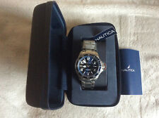 BRAND NEW Nautica Men's  Quartz Stainless Steel and Leather Sport Watch