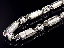 """Mens White Gold Sterling Silver 3D Lab Diamond Bullet Chain Necklace 7mm 32"""""""