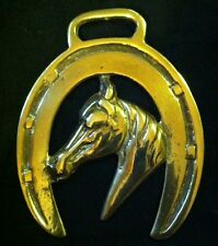 HORSE HEAD NARROW MUZZLE POINTED COLLAR HORSESHOE Lovely Vintage Harness BRASS