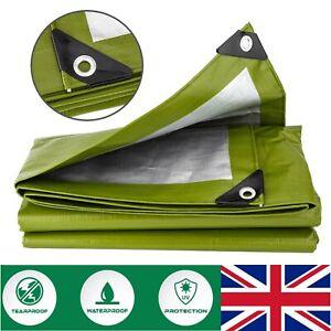 Tarpaulin 200gsm Heavy Duty Green Waterproof Ground Sheet Canvas Tarp Cover