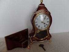 SWISS NEUCHATEL ELUXA CLOCK Vintage with Wall/Mantle - Burgundy with Gold