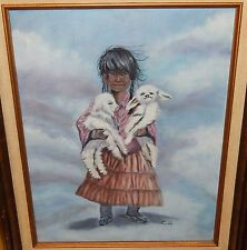 LINDA INDIAN GIRL WITH TWO BABY LAMBS ORIGINAL OIL ON CANVAS NAVAJO PAINTING