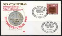 Germany 1990 cover SST Sonderstempel Bonn Staatsvertrag BRD und DDR .Money,coins