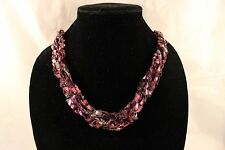 Adjustable Crochet Yarn Necklace Handmade ladder ribbon purple pink Alzheimer