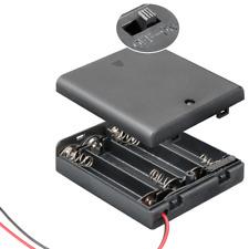 Batteriehalter - 4 fach - für 4 x AA Mignon - mit Deckel und EIN AUS Schalter