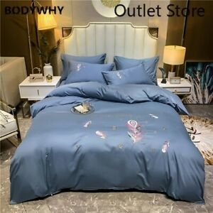Luxury  Egyptian Cotton Feather Embroidery Bedding Set Cover Bed Fitted Sheet
