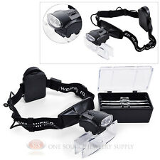 LED Head Magnifier Hands-Free Illuminated Multi- Power Glasses Magnification Set